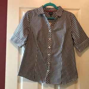 Talbots black and white gingham blouse